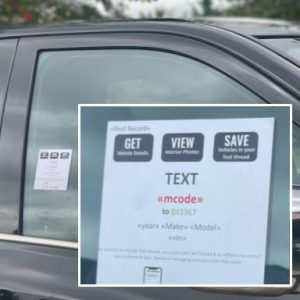 mcode text vehicle window sticker